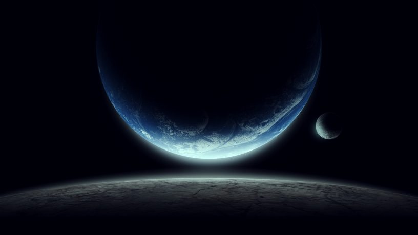Space illustration with moon and planet in space