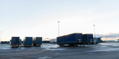 trucks and trailers on parking